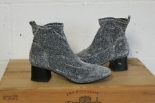 SILVER STRETCHY FABRIC ANKLE SOCK BOOTS SIZE 6 / 39 BY PRIMARK GOOD USED CON