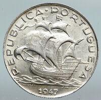1947 PORTUGAL with PORTUGUESE SAILING SHIP Vintage Silver 5 Escudos Coin i90180