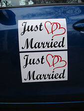 """(2) JUST MARRIED CAR MAGNETIC SIGNS 8""""X12"""" (2 Color) w/ Hearts FREE SHIP Wedding"""
