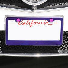 KA License Plate Purple Chrome T304 Stainless Steel Frame Holder w/Aluminum Cap