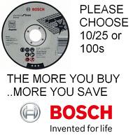 """Bosch 115mm 4.5"""" x 22.23 x 1mm Thin Metal Inox Fast Cutting Discs Pks 10/25/100"""
