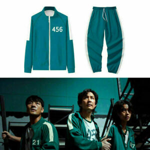 Halloween Squid Game 456 Outfit Dress Up Fancy Tracksuit Trousers Jacket Costume