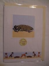 CARTE + ENVELOPPE - chien   BOXER COUCHE