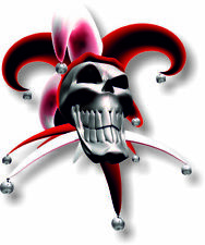 Vinyl sticker/decal Small 90mm jester smiling skull red - facing right
