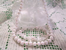 Vintage Monet White Hand-knot Glass Bead Necklace Moon-glow Bracelet Jewelry Lot
