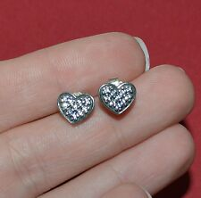 PANDORA STERLING SILVER AND PAVE HEARTS STUD EARRINGS