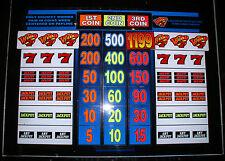 Las Vegas VINTAGE LARGE SLOT MACHINE PANEL GLASS ~ BALLY WILD 777 (1994)