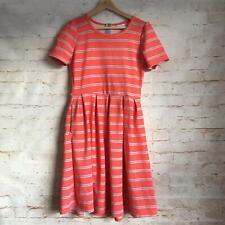 Lularoe Women's Medium Coral Gray Striped Short Sleeve Fit & Flare Amelia Dress