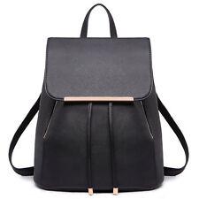 Black PU Leather Travel College Bag Backpack Shoulder School Handbag Girls  A4 3203789b28078