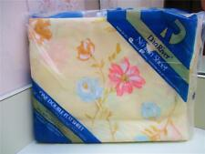 Vintage U.S.A. NOS Dan River Pretty Pastel Yellow Floral Full Double Flat Sheet