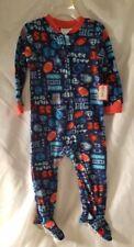24 Mo Pajamas Football Childrens  Feet Orange Blue Infant New Sleepwear Kids NWT