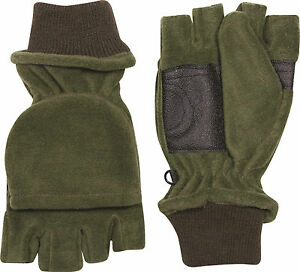 WARM GREEN FLEECE HUNTING SHOOTING FISHING MITTS MITTENS GRIP PALM GLOVES