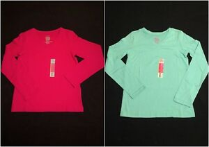 NWT Faded Glory Girls Red Or Green LS V Neck Top Size M (7-8) & L (10-12)