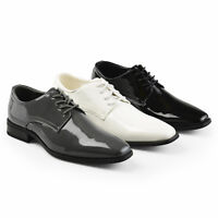 Daxx Mens Lace up Faux Leather Regular and Wide Width Tuxedo Dress Shoes