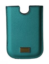 NEW $150 DOLCE & GABBANA Phone Case Cover Blue Leather Gold Logo Blackberry