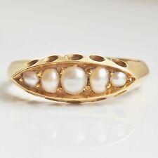 "Antico Periodo edoardiano 18 kt Gold Pearl Set RING c1902; misura UK ""P"""