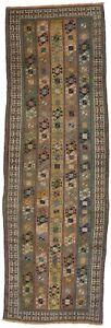 Vintage Multicolored Tribal Design 3X8 Semi Antique Oriental Runner Rug Carpet