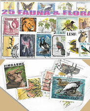 CHARITY STAMP PACKET FAUNA AND FLORA 25 USED STAMPS 0326