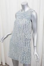 MARC JACOBS Womens Blue+White Wool Blend Striped Sleeveless Shift Dress 6/S NEW