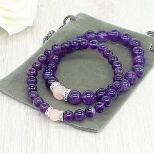 Handmade Amethyst & Rose Quartz Gemstone Stretch Chakra Bracelet & Velvet Pouch.