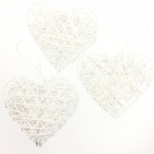TRIO OF WHITE 10cm RUSTIC RATTAN HANGING LOVE HEARTS WEDDING GIFT DECORATION