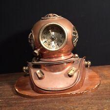 Vintage Clock Diving Helmet Brass Copper Scuba Dive Decor Nautical PRIORITY MAIL