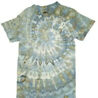 Handmade Tie Dye Men's T-Shirt, Sky Blue & Gray Swirl, Ice Dyed, Short Sleeves