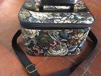 Vintage Vanity Case 1970s Floral Fabric Luggage