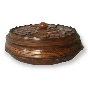 Vintage Boho Hand Crafted Carved Wood Round Bowl With Lid Flower & Leaf Design