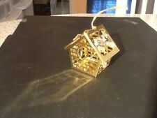 24k gold plated ornament bird house ornament with Swarovski crystals