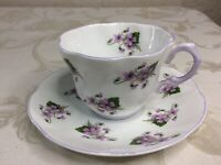 Vintage Fine Bone China Rosina Tea Cup And Saucer Violets England Unused Pretty