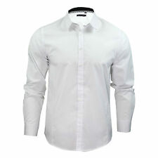 Mens Boys  Plain White Long Sleeve Shirt Cotton Collared Smart School Work S-XL