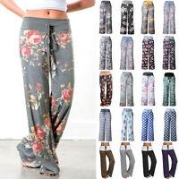 Women's Boho Loose Floral Yoga Palazzo Trousers Casual Wide Leg Pants Plus Size