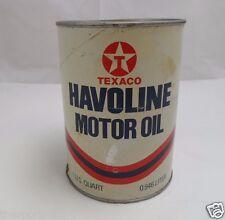 Havoline Quart Litter Motor Oil Can/Tin Texaco Red T Star Emblem SAE 30 Empty