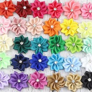 10-50Pcs Satin Ribbon Flower with Crystal Bead Appliques DIY Craft Sewing Decor