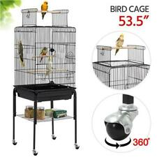 47-inch Play Top Bird Cage Rolling Stand Black With Interactive Play Top Solid