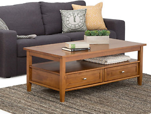 SIMPLIHOME Warm Shaker SOLID WOOD 48 inch Wide Rectangle Rustic Coffee Table in