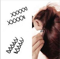 Black Hair Styling 10Pcs Spiral Spin Screw Bobby Pin Hair Clip Twist Barrette
