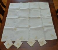 Vintage Linen Card Table TableCloth 4 Napkins Embroidered Yellow scroll work