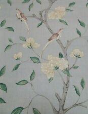 Zoffany Curtain Fabric Eleonora 2.5m 100 Silk Birds Design Stockholm Blue 250cm