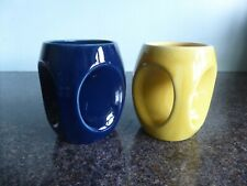Holkham Pottery - Owl Mugs - Blue & Yellow