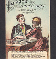 Paragon Dried Beef Restaurant Dude Henry Mayo Boston Victorian Trade Card poem