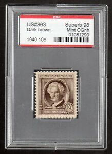 US @ 863(1940) 10c -PSE Graded: Sup98 - Mint OGnh (Encapsulated)Samuel L.Clemens