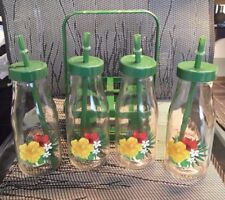 Glass Bottle  Drinking   Set and  Carrier with straws