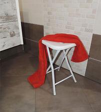 Sgabello per doccia o arredo bagno multiuso plastica metallo richiudibile bianco