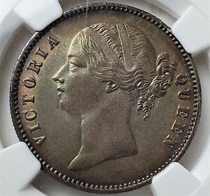 1 Rupee 1840 B&C VICTORIA QUEEN India British AU58 / NGC Rare High Grade !!