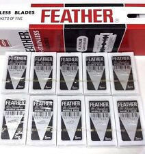 50 x FEATHER HI-STAINLESS BLADES DOUBLE EDGE PLATINUM COATED RAZOR BLADES NEW