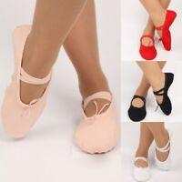US Adult Women Kid Girls Ballet Dance Shoes Cotton Canvas Group Gymnastics Shoes