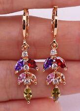 18K Gold Filled - 1.4'' Cat Eye Morganite Peridot Ruby Topaz Leaf Drop Earrings