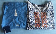 NEW Lot Of 2 Women's Basic Editions Top,blouse,shirt Medium Size Blue,white